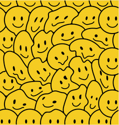 Funny smile faces seamless pattern doodle vector
