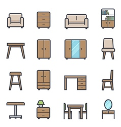 Furniture Icon Bold Stroke with Color vector image