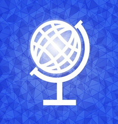 Global on blue dazzled triangle background vector