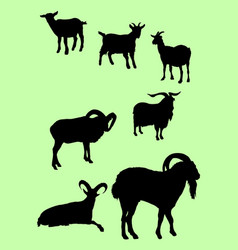 goats animal silhouette vector image