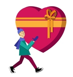 Guy buying heart-shaped gift box vector