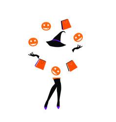 halloween sale girl juggling bags and pumpkin vector image