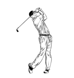hand drawn sketch of golfer in black isolated vector image