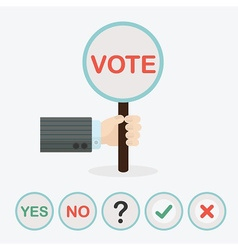 Hand holding conceptual VOTE sign circle paddle vector image