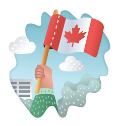 Hands holding up of canada flag vector