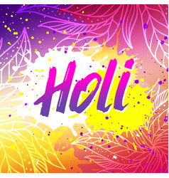holi festival banner with lettering vector image