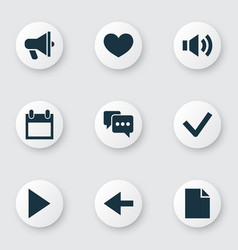 interface icons set with back heart comment and vector image