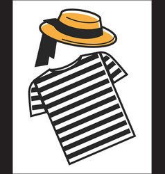 Italy or venice gondolier shirt and hat symbols vector