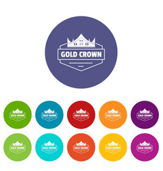 Jewelry crown icons set color vector