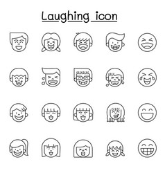Laughing icon set in thin line style vector