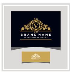 Letter v logo design concept royal luxury gold vector