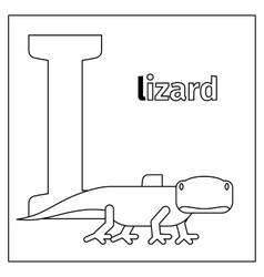 Lizard letter L coloring page vector
