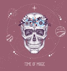 Magic witchcraft taros card with human skull vector