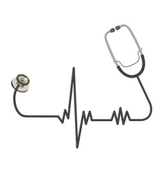 medical stethoscope with long wire in shape of ekg vector image