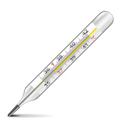 Mercury thermometer isolated on white vector