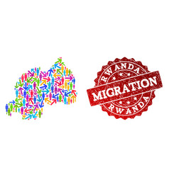 Migration composition of mosaic map of rwanda and vector