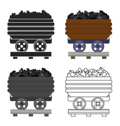 Minecart icon in cartoon style isolated on white vector