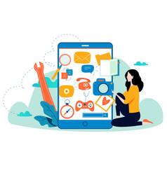 Mobile application development process flat vector