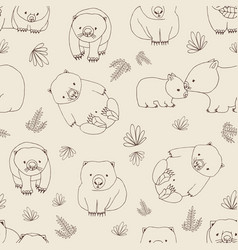 Monochrome seamless pattern with funny wombats and vector