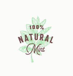 Natural mint abstract sign symbol or logo vector