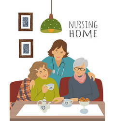 Nursing home a nurse and cheerful elderly woman vector