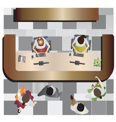 Office furniture reception top view set 13 vector