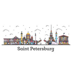 outline saint petersburg russia city skyline vector image
