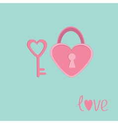 Padlock and key in shape of heart Love card vector