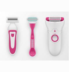 razors epilator for women realistic set shaving vector image