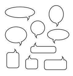 rounded speech bubbles linear icons set vector image