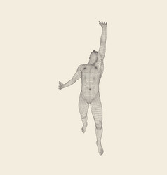 Running man human with arm up 3d grid model vector