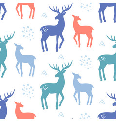 scandinavian deer christmas hand drawn doodles vector image