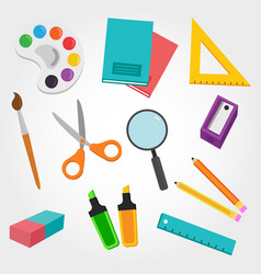 school material rubber pencil pen notebook paint vector image