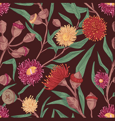 seamless botanical pattern with blossomed colorful vector image