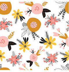 seamless floral pattern with flat stylized vector image