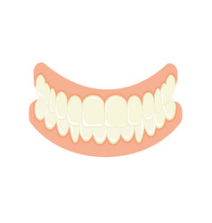 Set false teeth implanted jaw vector