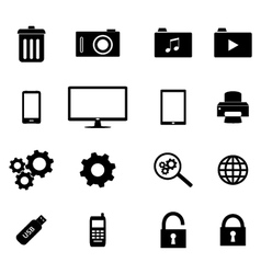 set flat icons - business and technology vector image