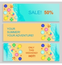 set horizontal travel summer banners vector image