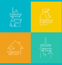 Set logo cleaning service vector