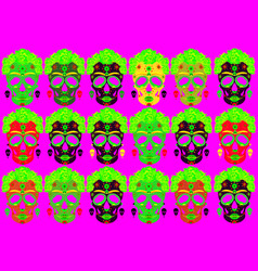 set mexican skulls with flowers day dead vector image