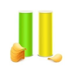 Set of green yellow tin box container vector