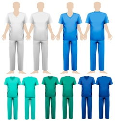 Set of medical overalls design template vector