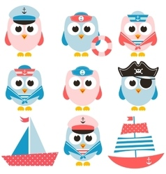 set of sailor owls and boats vector image