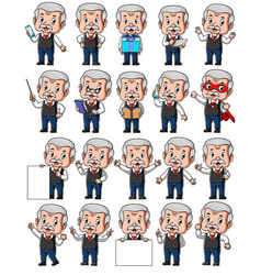 Set senior businessman with different poses vector