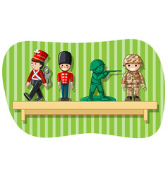 Soldier figures on wooden shelf vector