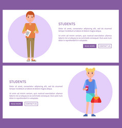 students web posters set boy holds notebook girl vector image