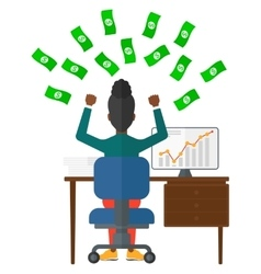 Successful business woman with money vector image