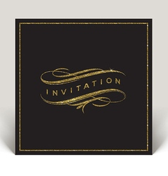 Template invitation with glitter gold flourishes vector