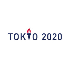 Text tokyo 2020 with olympic flame torch vector