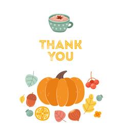 thank you postcard autumn holidays thanksgiving vector image